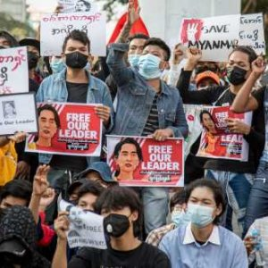 Thousands of protesters gather in downtown Yangon for the third day of protests against Myanmar's military coup. Theint Mon Soe/SOPA Images/Sipa USA