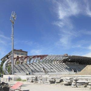 Dinamo Sukhumi's stadium under construction.