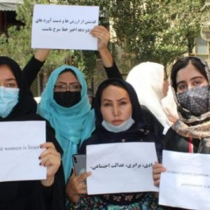 Afghan women organize protests in Kabul, following the undemocratic takeover of the state apparatus by the Taliban.