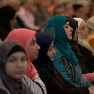 "Muslim women participate in the Interfaith Prayer Service opening the 2018 Festival of Faiths in historic Christ Church Cathedral, Louisville, Ky., on April 25, 2018. ""Sacred Insights: Feminine Wisdom"" was the theme of the 23rd annual Festival of Faiths."