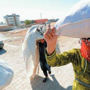 Syrian Kurds seek refuge in Turkey, after fleeing Islamic State  which for months laid siege to their hometown Kobani in 2014. Gail Orenstein/Zuma/Alamy