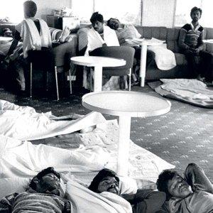 'We cannot understand why we are being held here.' Tamil refugees on hunger strike in the lounge of the Earl William in August 1987, protesting their ongoing detention. Neil Libbert/The Guardian Archives
