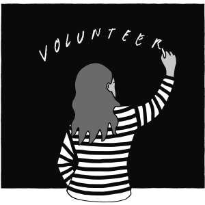 An illustration of a person with long hair writes the word volunteer on a blackboard