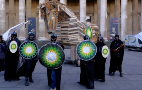 The occupation began with a 13-foot Trojan Horse being hauled into the Great Court by activists, and culminated in a 1,500-strong protest at the BP-sponsored exhibit 'Troy: Myth and Reality'. Credit: Hugh Warwick