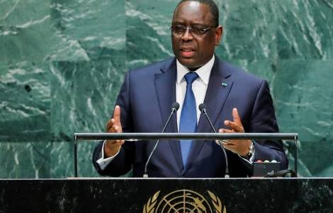 Senegal's President Macky Sall addresses the 74th session of the United Nations General Assembly at U.N. headquarters in New York City, New York, U.S., September 24, 2019. REUTERS/Eduardo Munoz
