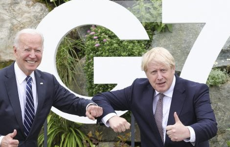 Pictured in Carbis Bay– one of the UK's most deprived areas hit particularly hard by neoliberal austerity policies – US President Joe Biden greets Prime MinisterBoris Johnson in the run-up to the G7 summit. Credit: Andrew Parsons.CC BY-NC-ND 2.0