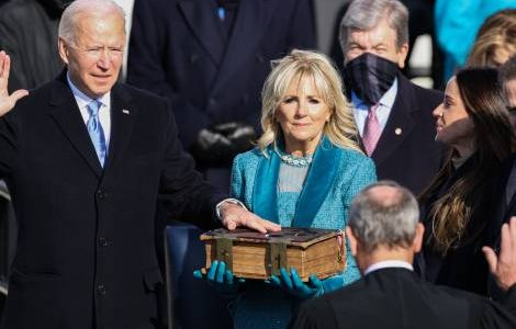 Joe Biden becomes the 46th president of the United States during the Inauguration Day ceremony held at the U.S. Capitol Building in Washington, D.C. on Jan. 20, 2021. Credit: Oliver Contreras/Sipa USA