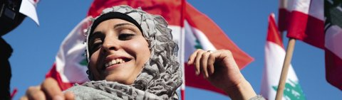 All smiles at a political rally in Beirut's Martyr's Square.