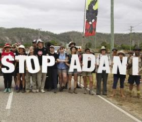 World's largest coalmine: Protesters, including First Nations people, blocking the road to Adani's Abbot Point coal port.
