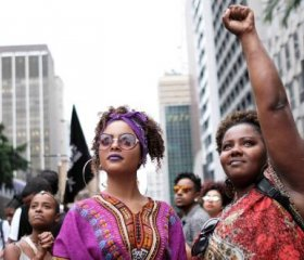 Women march during the National Black Consciousness Day in Sao Paulo, Brazil November 20, 2019. REUTERS/Nacho Doce