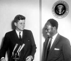 President Kwame Nkrumah of Ghana, a critic of Western influence over his country, meets with US President John F Kennedy. There may have been smiles all around but Nkrumah's cards were marked. ABBIE ROWE/WIKIMEDIA COMMONS