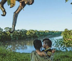 Machiguenga children at play in Manu's spectacular wilderness, while their pet spider monkey explores a tree. CHARLIE JAMES/NATIONAL GEOGRAPHIC/ALAMY