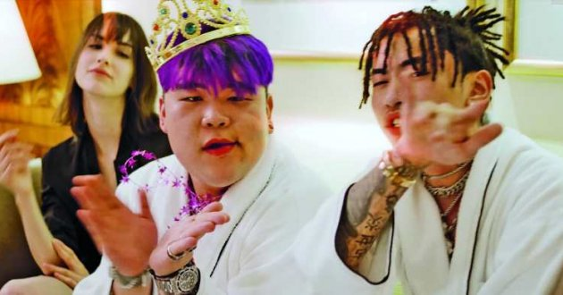 A still from the music video 'Room Service', via the record label 88rising, by hip hop sensation Higher Brothers.