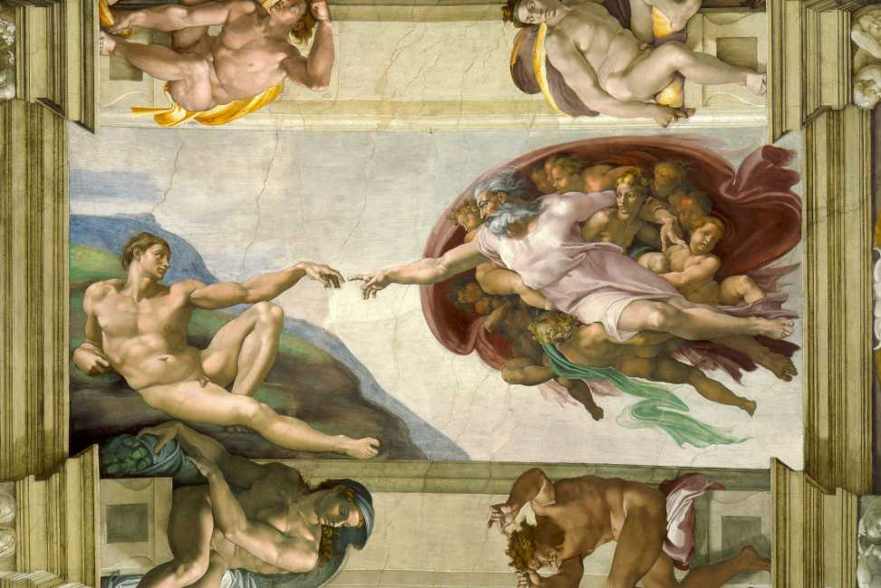The Creation of Adam by Michelangelo, Sistine Chapel.