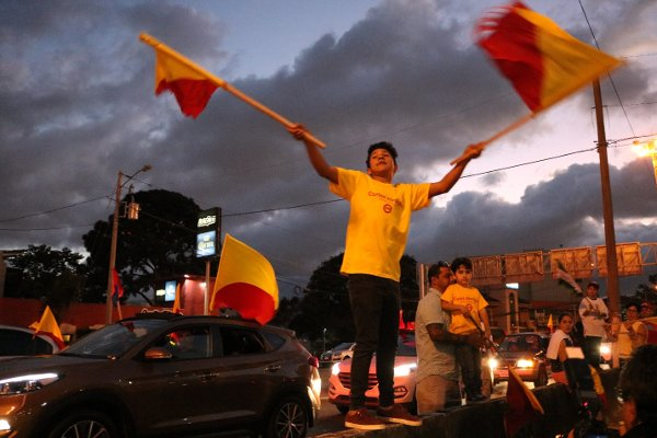 Supporters of the governing Citizens Action Party (PAC) rallied after the voting finished. Photograph: Gustavo Fuchs