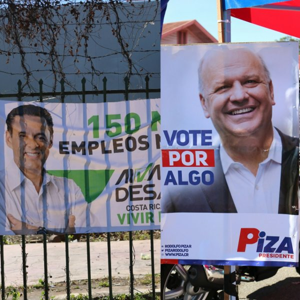 Antonio Alvarez – left – stood as candidate for the PLN, while Rodolfo Piza – right – represented the PUSC party. Photograph: Gustavo Fuchs
