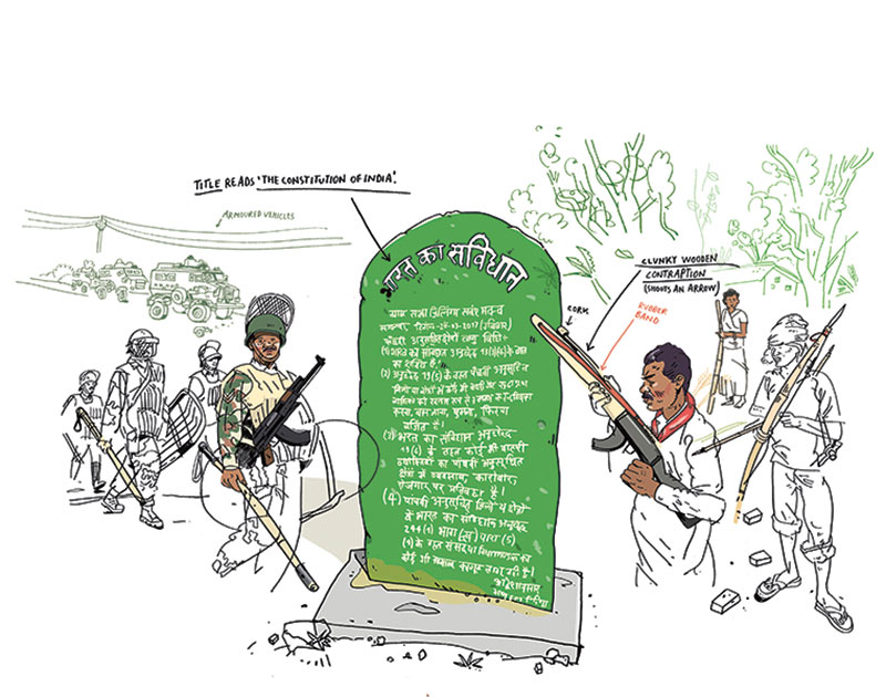 An indigenous movement in Jharkhand is reminding the Indian authorities of their constitutional duty to protect tribal lands. Illustration: Olivier Kugler