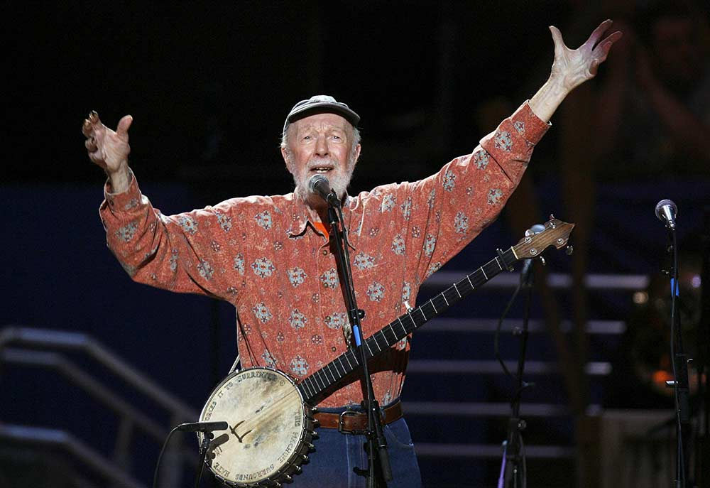 "Peter Seeger (May 3, 1919 – January 27, 2014) was an American folk singer and social activist. A fixture on nationwide radio in the 1940s, he also had a string of hit records during the early 1950s as a member of the Weavers, most notably their recording of Lead Belly's ""Goodnight, Irene"", which topped the charts for 13 weeks in 1950. Members of the Weavers were blacklisted during the McCarthy Era. In the 1960s, Seeger re-emerged on the public scene as a prominent singer of protest music in support of international disarmament, civil rights, counterculture, and environmental causes."