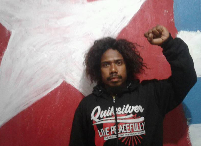 West Papua: campaigner Yanto Awerkion, who was arrested in June this year for gathering signatures on a petition. Image from Benny Wenda.