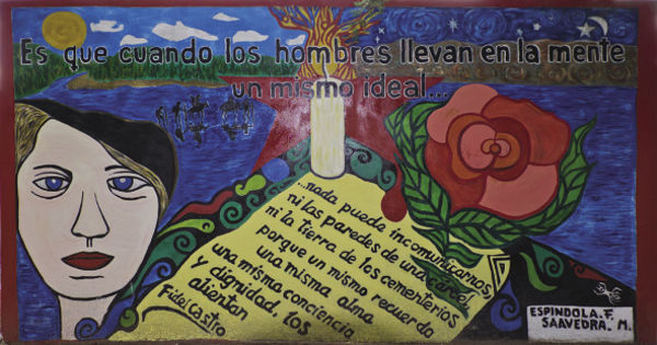 Mural by the grave of fellow guerrilla Tania, who was captured and executed in Vallegrande