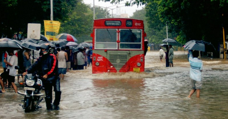 Heavy monsoon caused floods in Mumbai in August 2005.