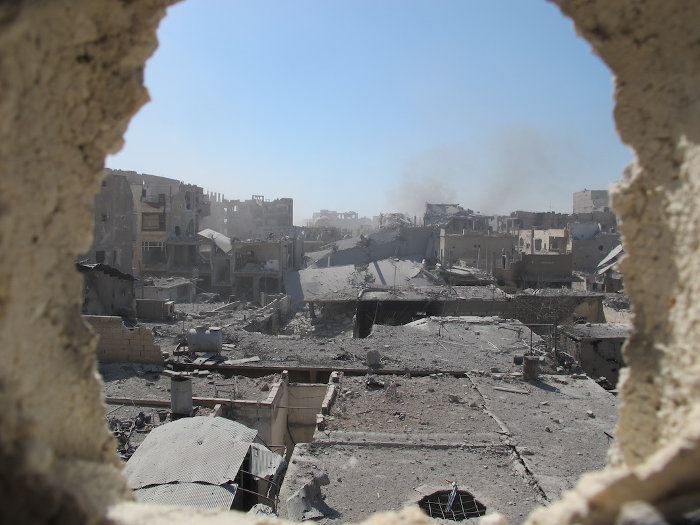 A view of Raqqa's frontline.