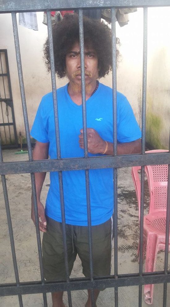 Yanto Awerkion after his arrest in May 2017 (credit to West Papua National Committee KNPB)
