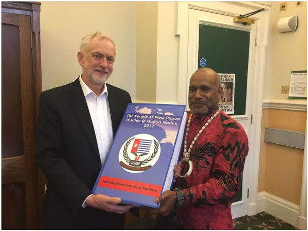 West Papua independence leader Benny Wenda presenting the petition to long-time supporter of West Papuan self-determination Jeremy Corbyn