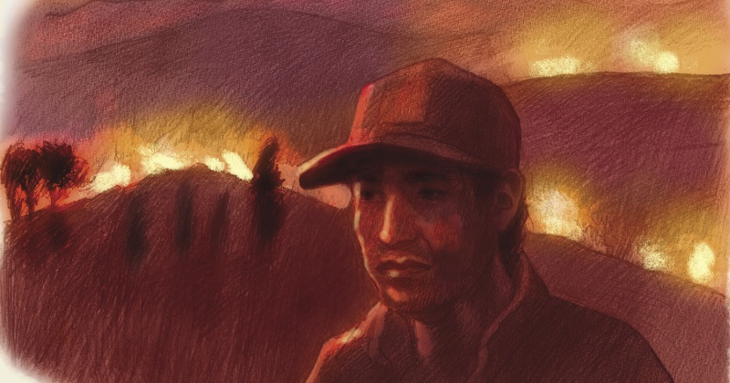Cochabamba fire. Illustration by Sarah John