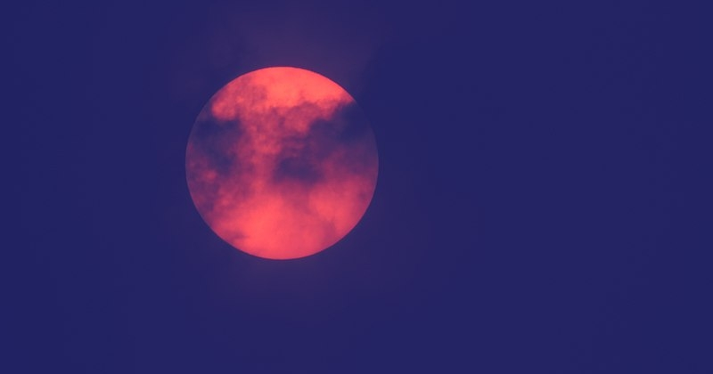The red sun caused by Saharan dust drawn north by Storm Ophelia in October 2017