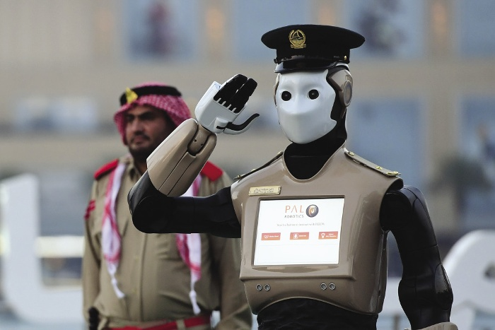 Robotization dangers: Robocop for real, a police robot makes its debut in dubai, May 2017. It will help citizens report crimes and answer parking ticket queries, rather than make arrests. 25 per cent of the dubai police force will be robotic by 2030.