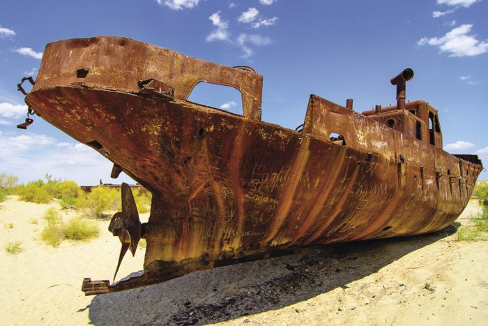 A look at Uzbekistan today: the ship graveyard on the former shore of the Aral Sea in Moynak