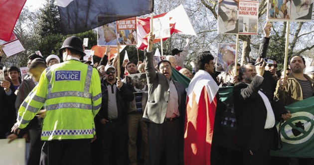 A demonstration by Bahrainis  in London demanding democratic rights in their country. Alamy/Peter Wheeler