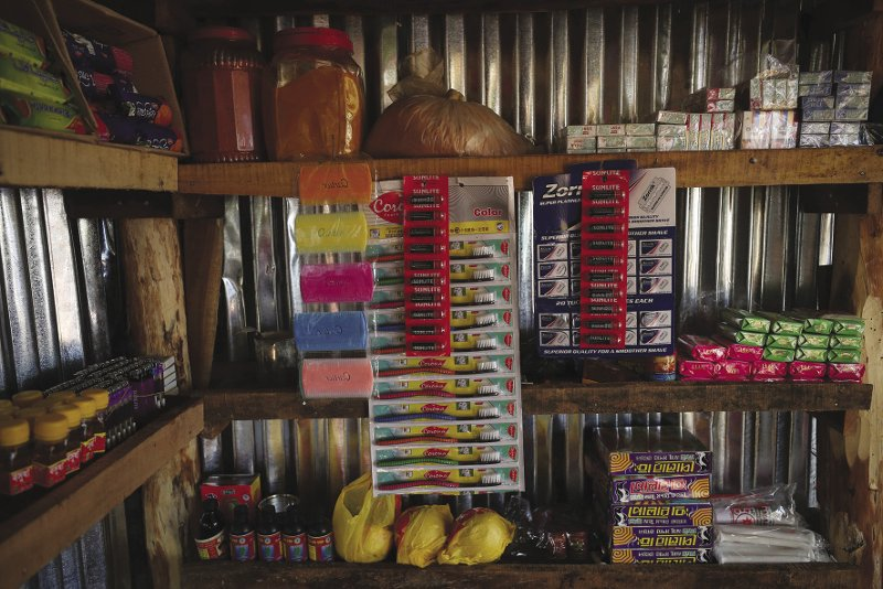 BANGLADESH  Healthcare products for sale in a shop in Palong Khali refugee camp near Cox's Bazar, Bangladesh. Between August and December more than 600,000 Rohingya Muslims fled their native Myanmar for neighbouring Bangladesh, after thousands were murdered, raped and had their villages torched by Burmese government troops and ethnic Rakhine Buddhist vigilantes. Although they have lived in the region for centuries, the Muslim Rohingya people are denied citizenship rights by the government of Buddhist-majority Myanmar. As refugees in the camps in Bangladesh, they end up working for Bangladeshi traders who pay them little. Photo: Hannah McKay/Reuters  SOUTH