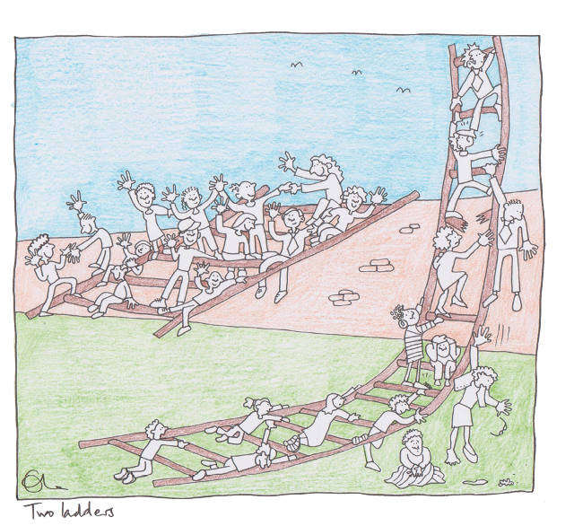 Two ladders, inequality cartoon by Ella Furness
