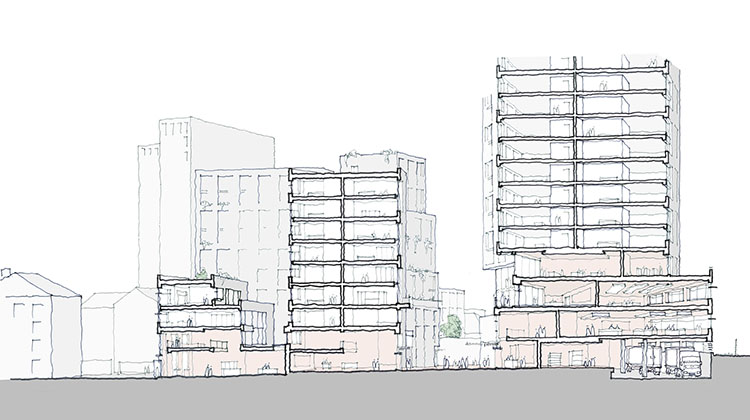 A sketched section of the sustainable redevelopment of Camley Street as proposed by the community. Via Karakusevic and Carson architects
