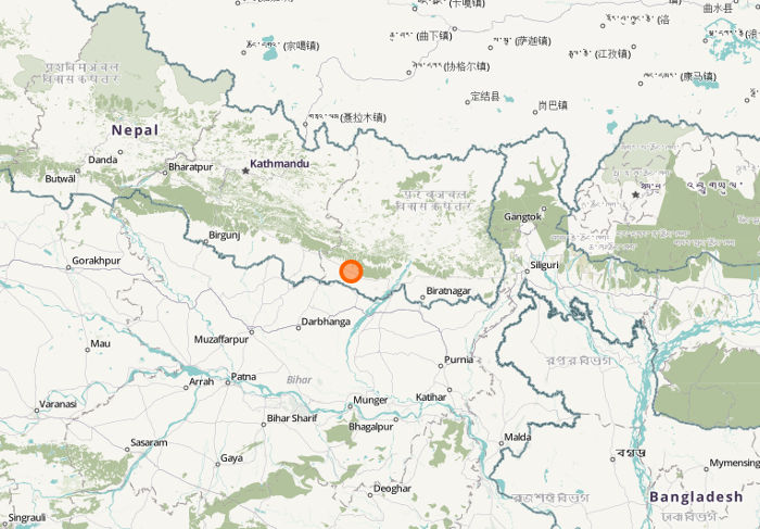 A map of Lahan within Nepal. Via openstreetmap.org