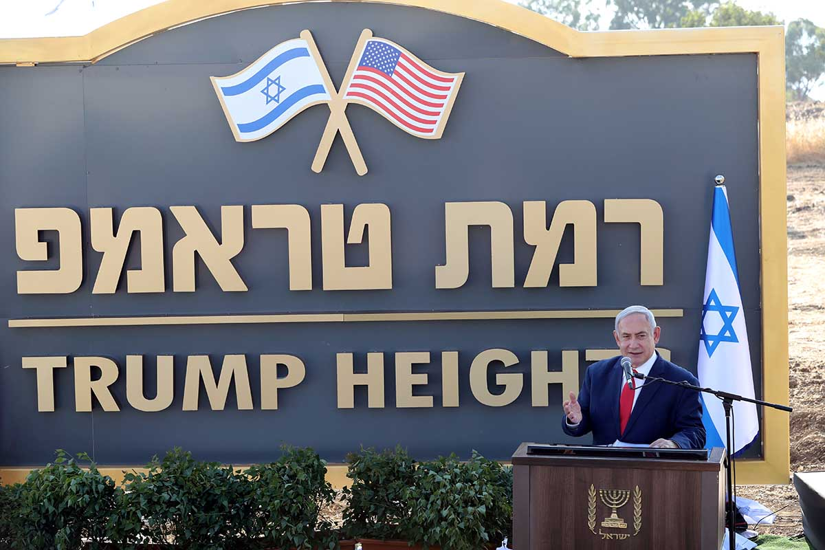 US ISRAEL. Israeli Prime Minister Benjamin Netanyahu speaks during a ceremony to unveil a sign for a new community named after U.S. President Donald Trump, in the Israeli-occupied Golan Heights June 16, 2019. REUTERS