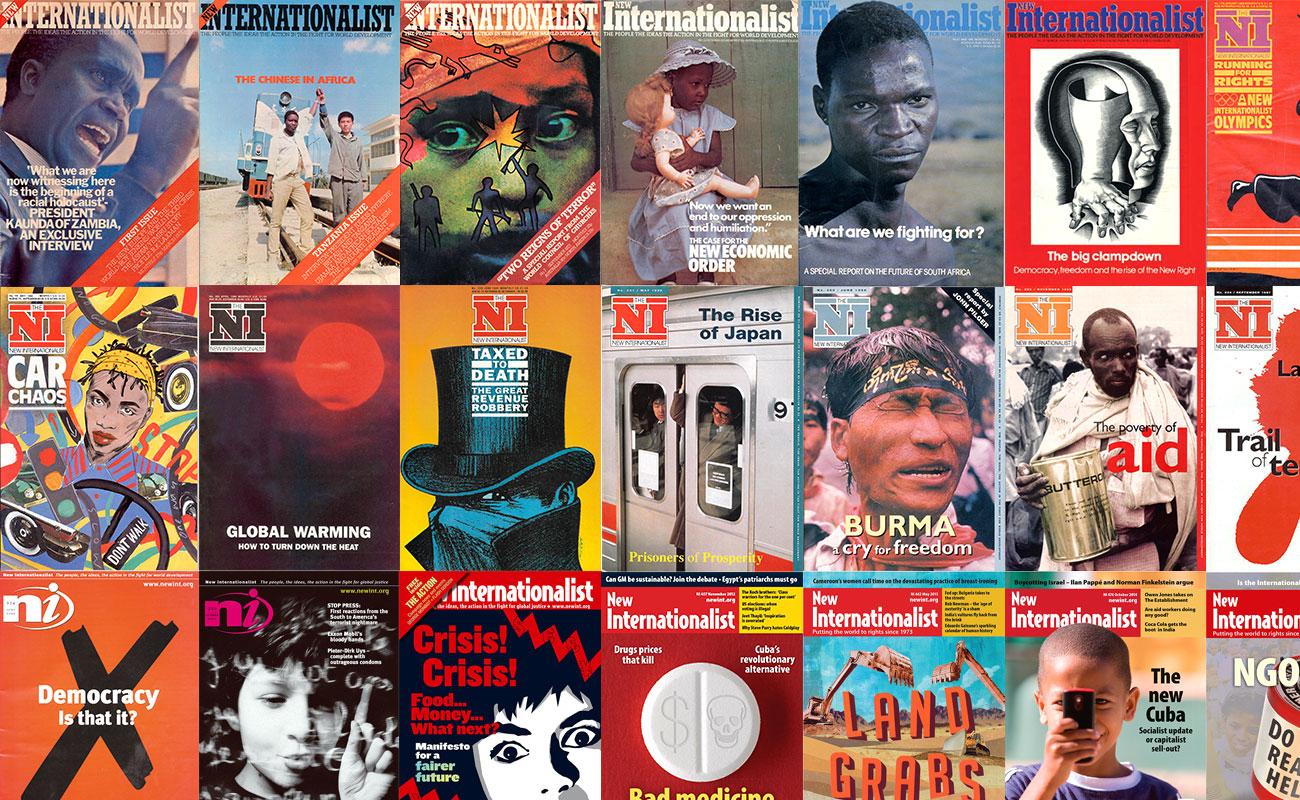 A mural of previous New Internationalist covers from the past 40 years