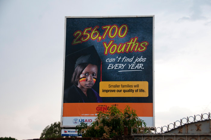 Youth bulge: A public billboard in Uganda urges people to have smaller families.