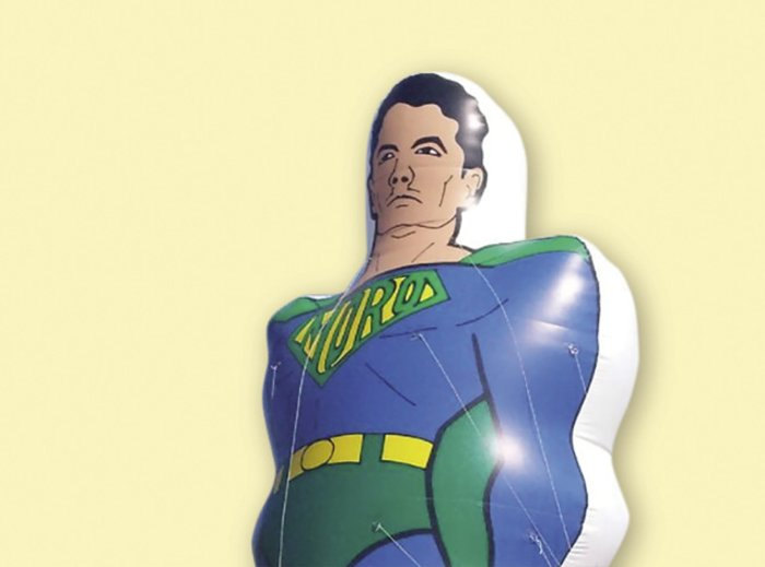Operation Car Wash: Sergio Moro as Superman - a popular inflatable doll.