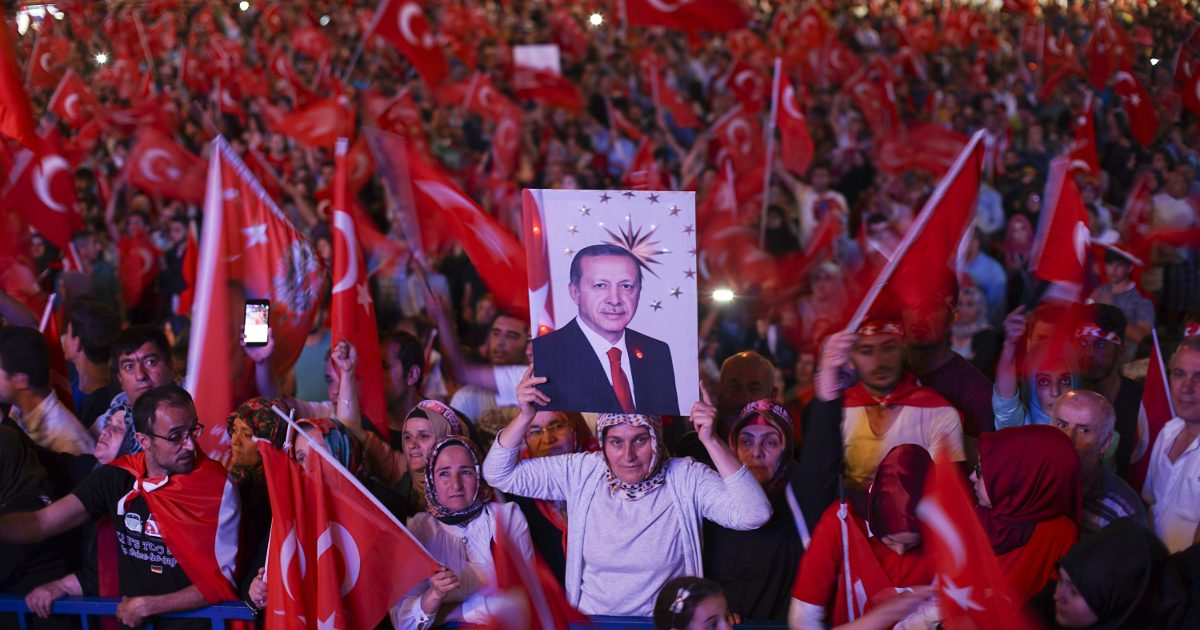 A nightly demonstration of Erdogan supporters in the wake of the coup.