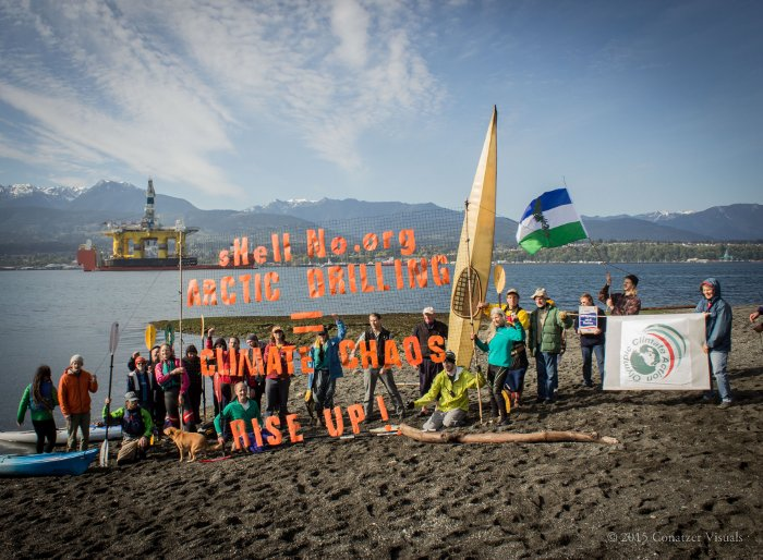 US activists protest Shell's arctic drilling.