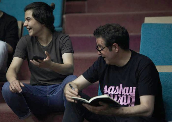 Mark Thomas with one of the Palestinian comedians.
