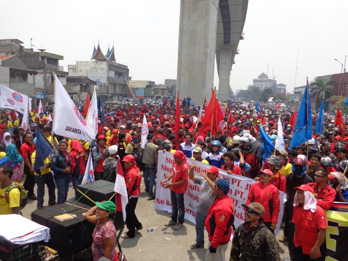 A massive workers' protest during a general strike at Tanjung Priok Port, Jakarta, on 31 October 2013.