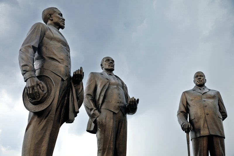 Botswana: The Three Dikgosi (Chiefs) Monument depicting the leaders of the Bangwato, Bakwena and Bangwaketse ethnic groups – a set of bronze figures cast by a North Korean company and located in Gaborone's Central Business District.