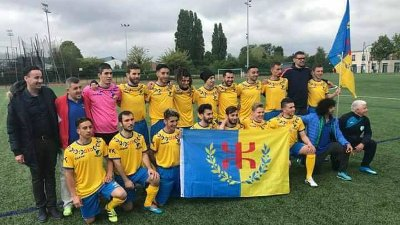 Kabyle players hold the Kabyle flag during the football team's training  week, starting 27 April near Paris.