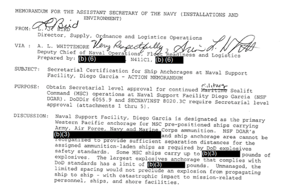 FOI documents revealing the risk of explosions on Diego Garcia/