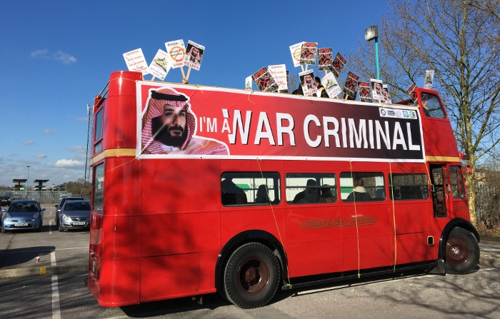Joining the dots: activists highlight UK arms sales to Yemen ahead of a visit by Saudi Crown Prince bin Salman, in London last March. Credit: Hazel Healy