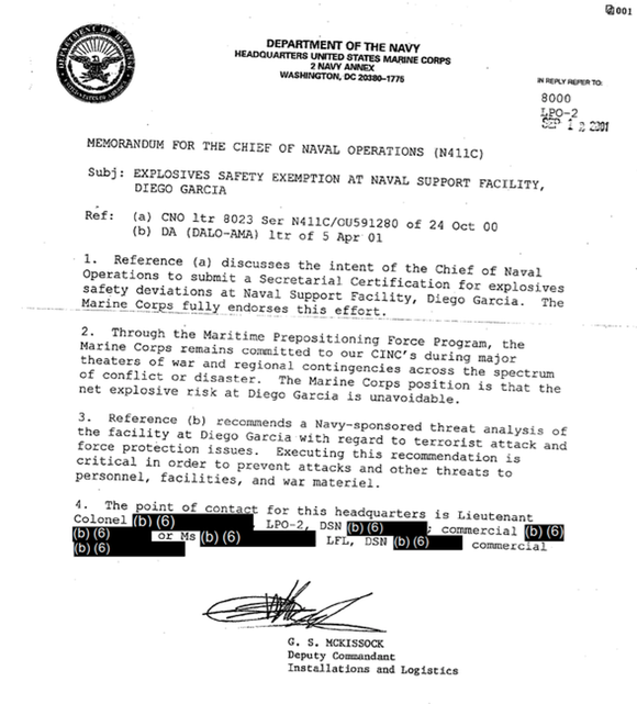 A memorandum detailing the risk of explosion on Diego Garcia